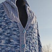 """Одежда ручной работы. Ярмарка Мастеров - ручная работа Кардиган вязаный  """"Апрельская капель""""  синий, голубой. Handmade."""