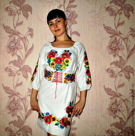 Этническая одежда ручной работы. Ярмарка Мастеров - ручная работа. Купить платье льняное. Handmade. Комбинированный, платье льняное, маки