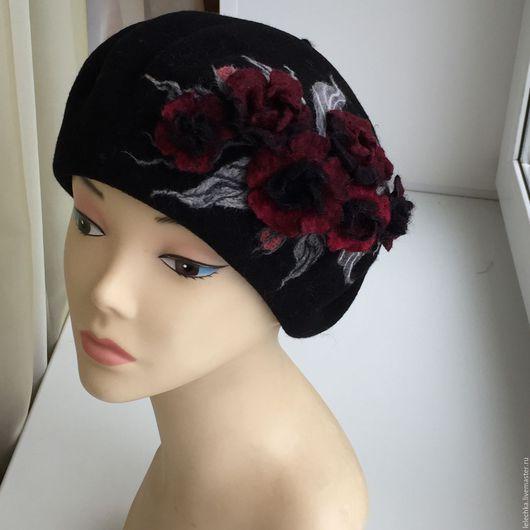 """Береты ручной работы. Ярмарка Мастеров - ручная работа. Купить Берет """"Кармен"""". Handmade. Черный, головные уборы для женщин, шляпа"""