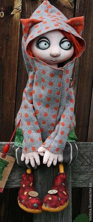 """Человечки ручной работы. Ярмарка Мастеров - ручная работа. Купить Авторская кукла """"Рыжая Маша – любительница кошек"""". Handmade."""