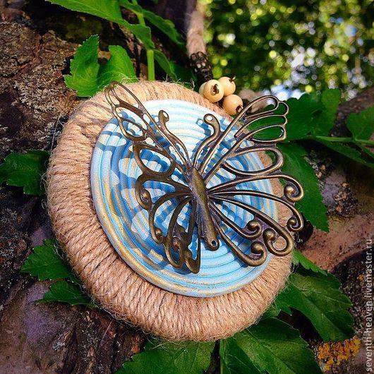 Колье, бусы ручной работы. Ярмарка Мастеров - ручная работа. Купить Колье с бабочкой ПУТЬ ВОЛШЕБНИКА. Handmade. Голубой, этно