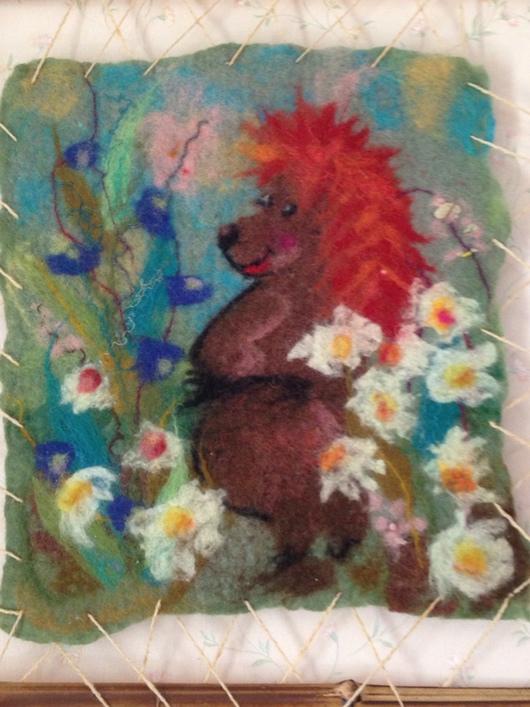 Детская ручной работы. Ярмарка Мастеров - ручная работа. Купить Валяная картина Ежик Трям. Handmade. Картина из шерсти, еж