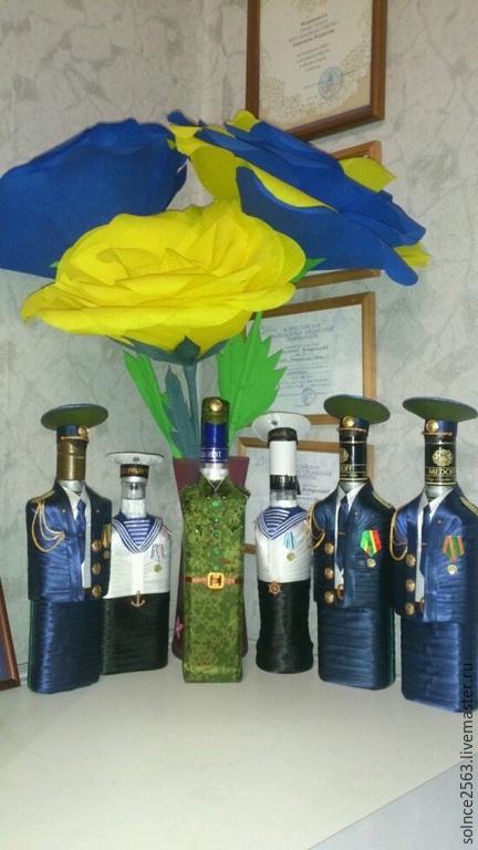 Подарочное оформление бутылок ручной работы. Ярмарка Мастеров - ручная работа. Купить Бутылочки военные. Handmade. Тёмно-синий, ткань