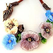 Украшения handmade. Livemaster - original item Necklace lampwork Living in the midst of poppies. Handmade.