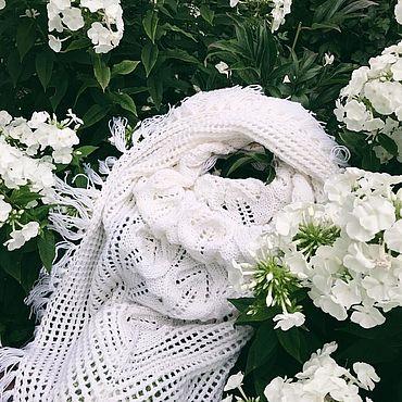 Accessories handmade. Livemaster - original item Shawl knitted Snow White Lily. Handmade.