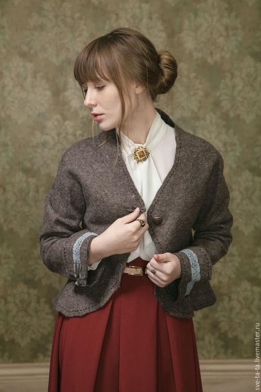 """Пиджаки, жакеты ручной работы. Ярмарка Мастеров - ручная работа. Купить """"Старые письма"""" жакет, войлок. Handmade. Серо-коричневый"""
