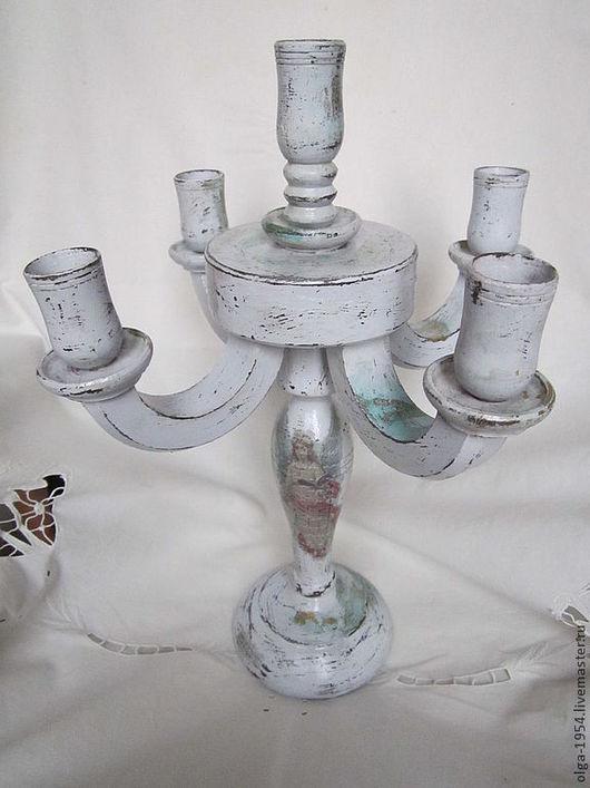 """Подсвечники ручной работы. Ярмарка Мастеров - ручная работа. Купить Канделябр """"Шебби"""" с ангелом. Handmade. Серый, камин, шебби, рождество"""