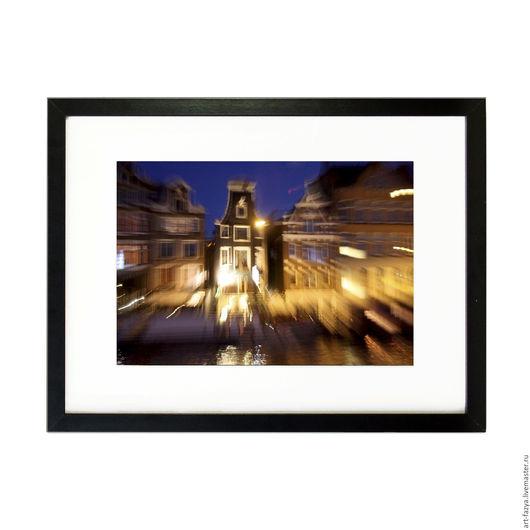 Фотокартины ручной работы. Ярмарка Мастеров - ручная работа. Купить Фотокартина в раме для интерьера. Ночной Амстердам 3. Handmade. амстердам
