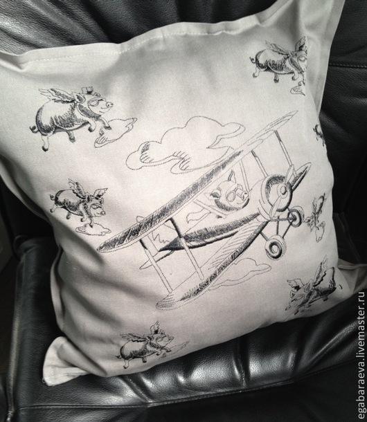 Текстиль, ковры ручной работы. Ярмарка Мастеров - ручная работа. Купить ВОЗМОЖНО ВСЁ!!! - подушка для мужчин. Handmade. Серый, летчик