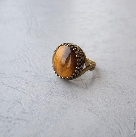 """Кольца ручной работы. Ярмарка Мастеров - ручная работа. Купить Кольцо с тигровым глазом """"Муар"""". Handmade. Винтажный стиль, большой размер"""