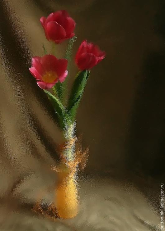 Фотокартины ручной работы. Ярмарка Мастеров - ручная работа. Купить Натюрморт Первые тюльпаны. Handmade. Коралловый, зеленый, коричневый, тюльпаны