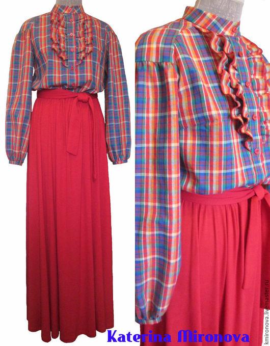 Платья ручной работы. Ярмарка Мастеров - ручная работа. Купить Платье красное, с клетчатым верхом. Handmade. Ярко-красный, платье