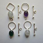 Материалы для творчества handmade. Livemaster - original item Toggle clasps with stones. the silvering.. Handmade.