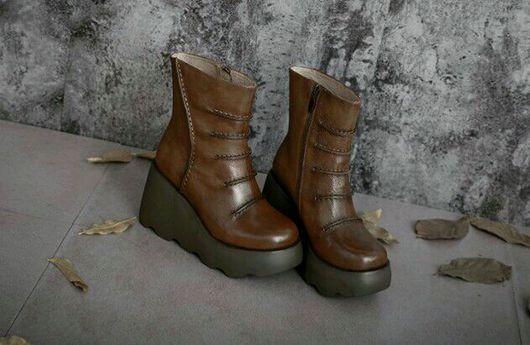 Обувь ручной работы. Ярмарка Мастеров - ручная работа. Купить Ботильоны 3. Handmade. Ботильоны, сапоги, кожа натуральная мягкая