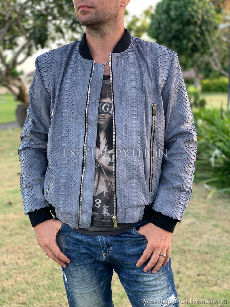Nubuck Python Leather Jacket, Mens outerwear, Moscow,  Фото №1