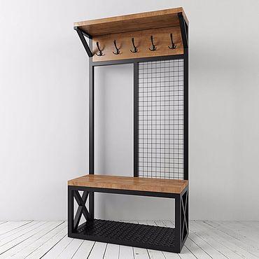 Шкаф стеллаж в прихожую в стиле лофт