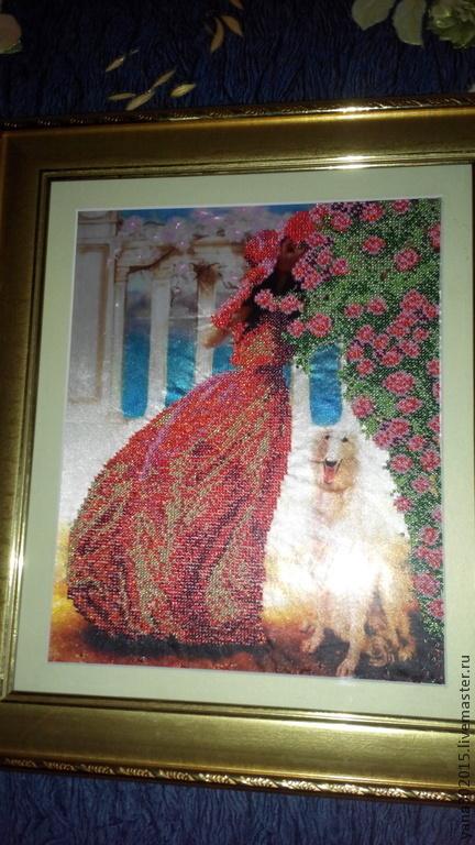 Картина вышитая чешским бисером `Розовая альтанка`