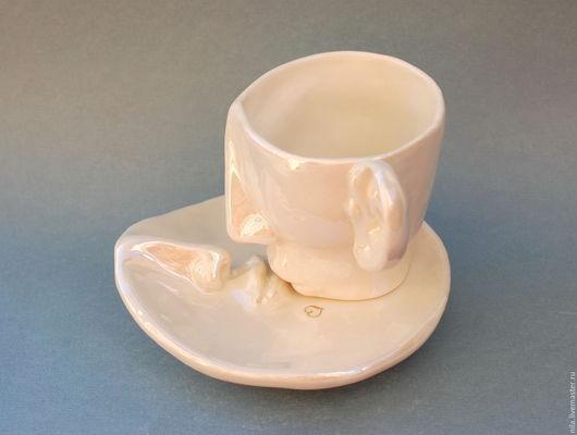 """Сервизы, чайные пары ручной работы. Ярмарка Мастеров - ручная работа. Купить Чайная пара """"Поцелуй"""". Handmade. Белый, влюбленные"""