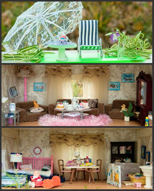 Зона для пикника на крыше: шезлонг, складной зонт на подставке, столик,  живое растение (хлорофитум)  в стекле. Гостиная (столовая). Детская: спаленка, игровая, зона для творчества, туалетный уголок.