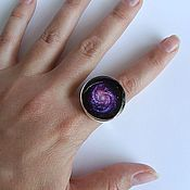 Украшения handmade. Livemaster - original item Large Ring Universe Space Galaxy Purple Nebula. Handmade.