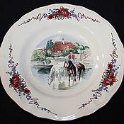 Винтаж handmade. Livemaster - original item Soup plate SARREGUEMINES, Obernai, Henri Loux, France. Handmade.