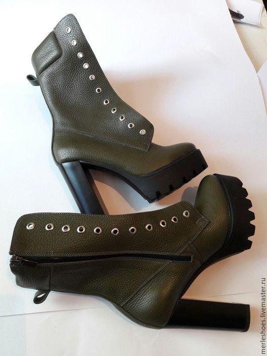 Обувь ручной работы. Ярмарка Мастеров - ручная работа. Купить Ботильоны темно-зеленая натуральная кожа 12 см. Handmade.