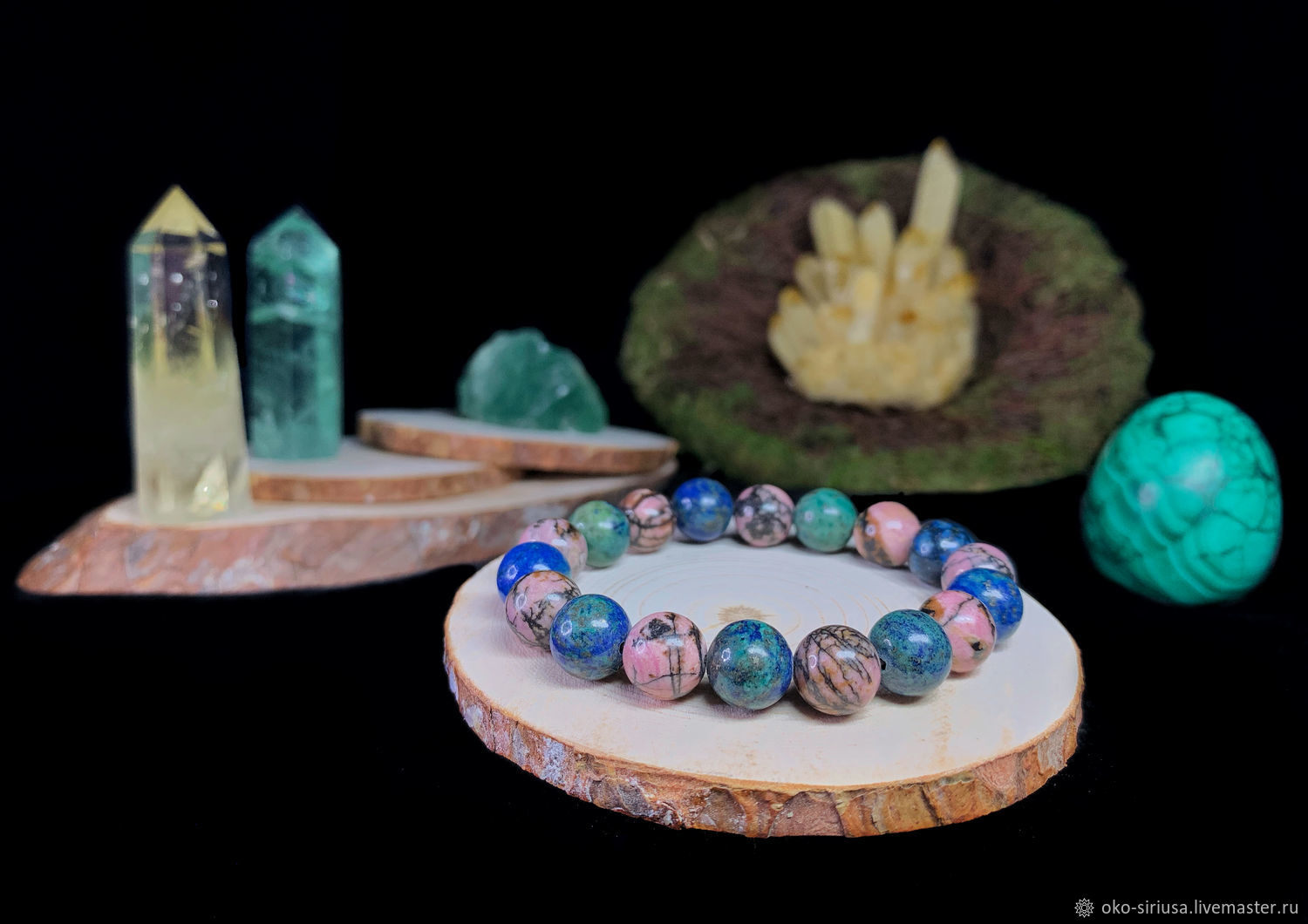 Bracelet made of natural Landscape Rhodonite and Azurmalachite, Bead bracelet, Moscow,  Фото №1
