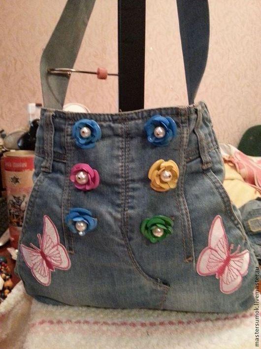 Детские аксессуары ручной работы. Ярмарка Мастеров - ручная работа. Купить детская джинсовая сумка. Handmade. Голубой, сумка для девочки