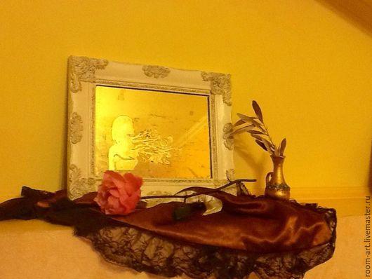 Зеркала ручной работы. Ярмарка Мастеров - ручная работа. Купить Орнаментальное зеркало Девушка. Handmade. Золотой, патинирование, стекло