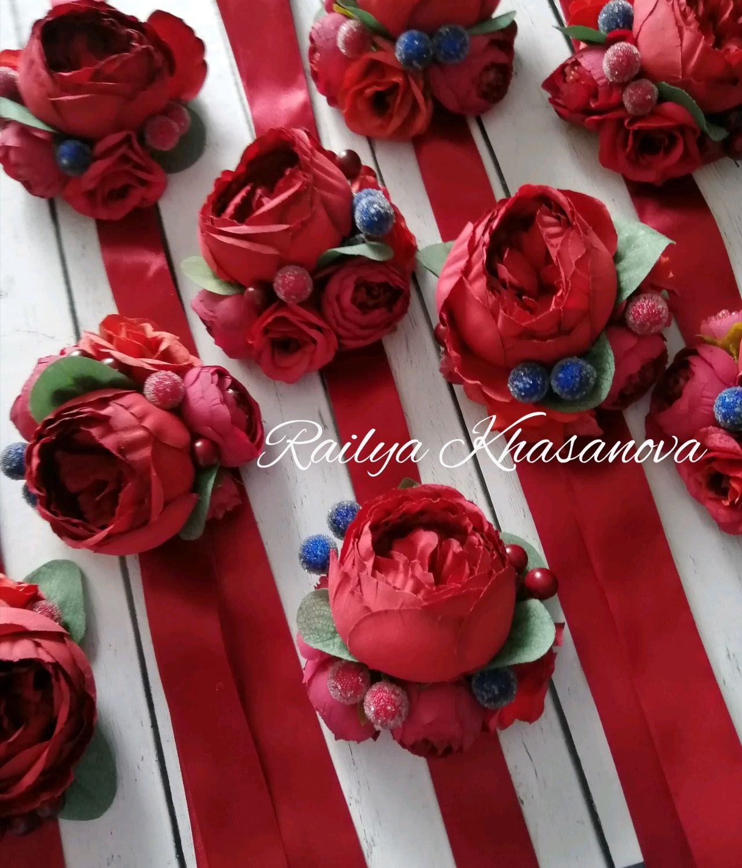 Свадебные цветы ручной работы. Ярмарка Мастеров - ручная работа. Купить Марсала браслеты для подружек невесты. Handmade. подружкам невесты