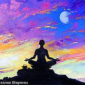 """Картины и панно ручной работы. Ярмарка Мастеров - ручная работа """"Медитация Убывающей Луны"""" - картина маслом (йога). Handmade."""