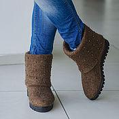 Обувь ручной работы. Ярмарка Мастеров - ручная работа Валяные полусапожки Шоколадный город. Handmade.
