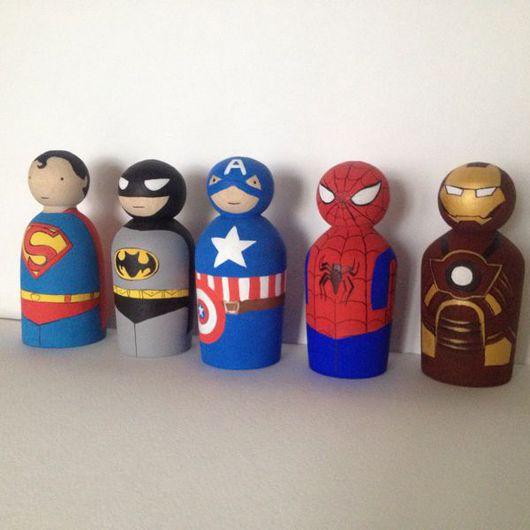 Человечки ручной работы. Ярмарка Мастеров - ручная работа. Купить Супергерои. Handmade. Бетмен, супергерои, подарок, дерево, акриловые краски