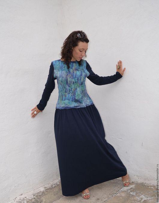 """Платья ручной работы. Ярмарка Мастеров - ручная работа. Купить Платье (войлок) """"Равновесие"""". Handmade. Тёмно-синий, платье войлок"""