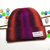 Аксессуары handmade. Livemaster - original item Knitted hat beanie, vertical stripes wool unisex. Handmade.