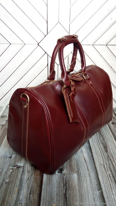 Кожаная дорожная сумка- саквояж №16