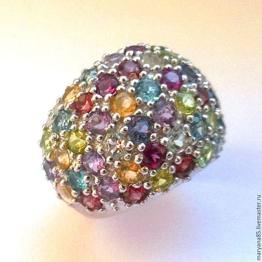 """Кольца ручной работы. Ярмарка Мастеров - ручная работа. Купить Кольцо (р.17.5) """"Королева вечера"""" с натурал.камнями, серебро, позолота. Handmade."""