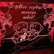 Подарки к праздникам ручной работы. Ярмарка Мастеров - ручная работа Сувенир с подсветкой. Мишки с валентинкой. Handmade.