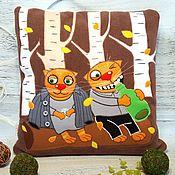 Для дома и интерьера handmade. Livemaster - original item Vatnichek # №2 by Vasya Lozhkin, decorative pillow with applique. Handmade.