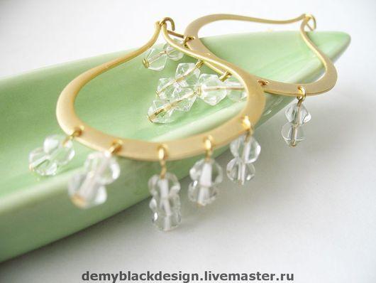 Серьги ручной работы. Ярмарка Мастеров - ручная работа. Купить Серьги с прозрачными чешскими бусинами Crystals in Gold. Handmade.
