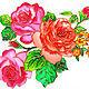 """Картины цветов ручной работы. Ярмарка Мастеров - ручная работа. Купить """"Английские Розы"""", картина на стекле, витражная роспись. Handmade."""
