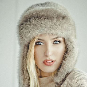 "Accessories handmade. Livemaster - original item Copy of Real mink fur hat ""Russian style"". Handmade."