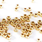 Материалы для творчества handmade. Livemaster - original item 1789_50_ Gold 2.5 mm beads, Round spacer beads gold Plated. Handmade.