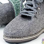 """Обувь ручной работы. Ярмарка Мастеров - ручная работа Ботинки из войлока """"Gray with green"""". Handmade."""