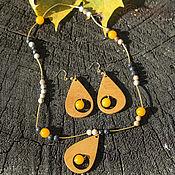 """Комплекты украшений ручной работы. Ярмарка Мастеров - ручная работа Серьги и кулон из дерева """"Солнечные капли"""" Кассия и желтый кварц. Handmade."""