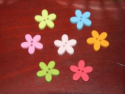 Шитье ручной работы. Ярмарка Мастеров - ручная работа. Купить Пуговицы цветочки 15 мм деревянные цветные. Handmade. Пуговица