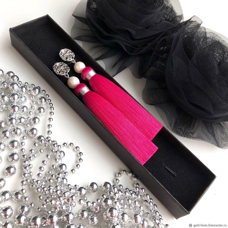 Pink fuchsia silk pearl brush earrings, Tassel earrings, St. Petersburg,  Фото №1