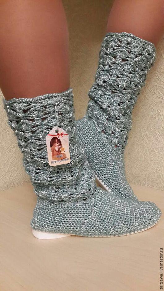 """Обувь ручной работы. Ярмарка Мастеров - ручная работа. Купить Сапожки """"Водопад"""". Handmade. Морская волна, вязаная обувь"""