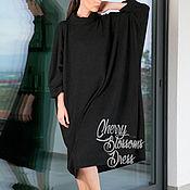 Одежда ручной работы. Ярмарка Мастеров - ручная работа Черная макси оверсайз туника, короткое платье, свитер, топ с рукавами. Handmade.