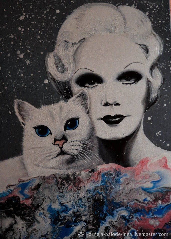 Jean Harlow. White. Coby. Cat. Paint. Painting. Popart. Old cinema. Mo, Pictures, Riga,  Фото №1